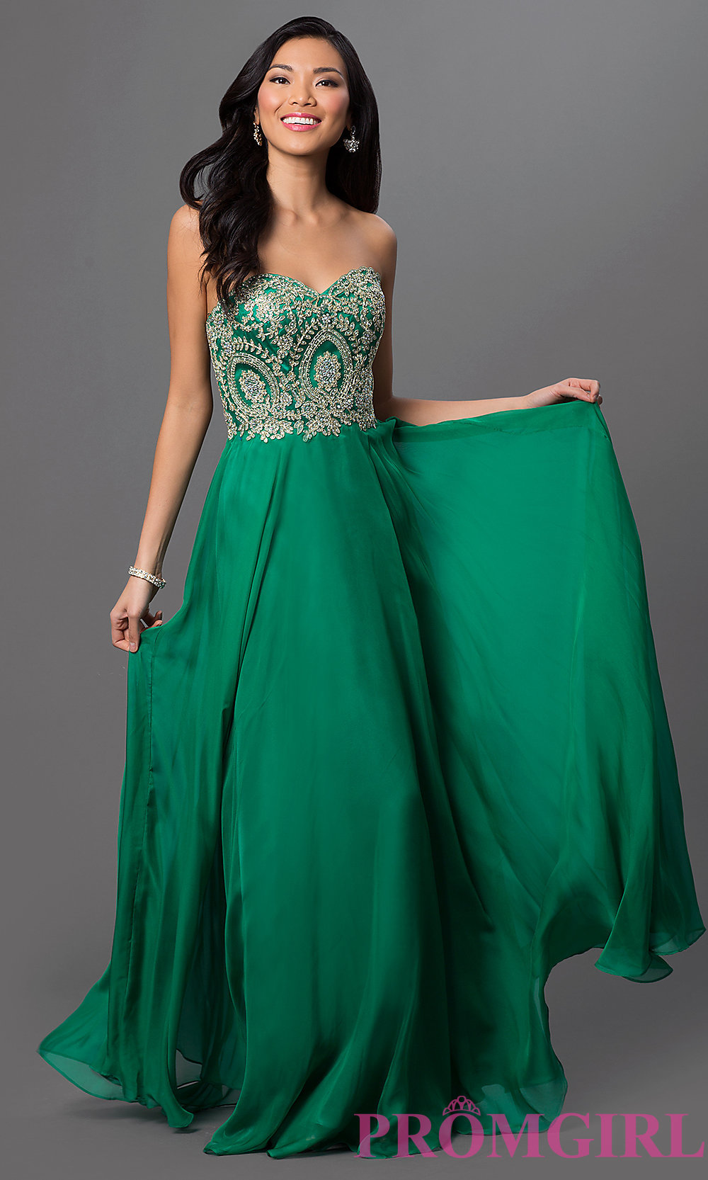 7d36ad0452 Strapless Floor Length Dress with Lace Embroidered Bodice