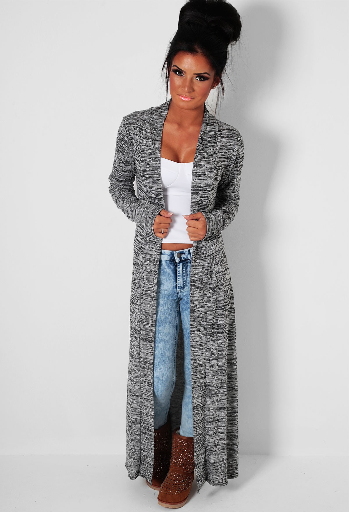 Grey Marl Maxi Knit Cardigan | Pink Boutique