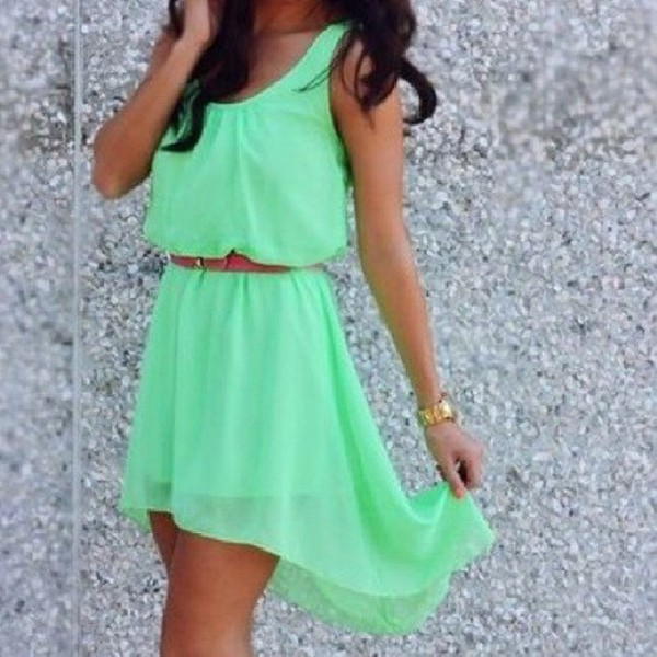 green dress waist belt high low dress mini dress dress beautiful nice green mint high low belted belted dress bright green sleeveless fitted waist sheer aqua belt cute dress fluo