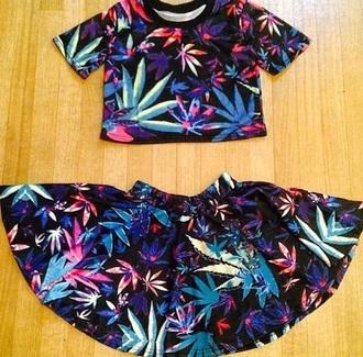 skirt black skirt marajuana leaf multi colored