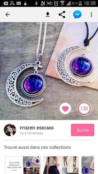 jewels necklace necklaces & pendants choker necklace moon moon necklace stone necklaces purple necklace silver necklace galaxy crescent necklace