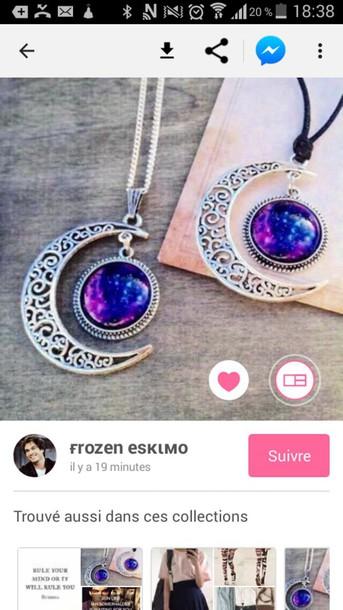jewels necklace necklaces & pendants choker necklace moon moon necklace stone necklaces purple necklace silver necklace galaxy crescent necklace
