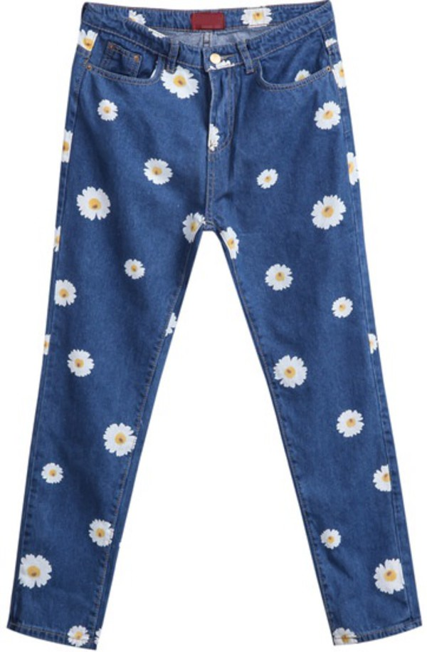 jeans daisy vintage jeans cute jeans sheinside