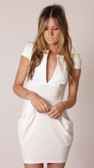 dress white dress white formal easy wedding dress office outfits casual tailoring low cut v neck short mini classy