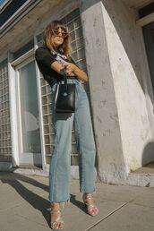 shoes,mules,denim,jeans,black t-shirt,bag,sunglasses