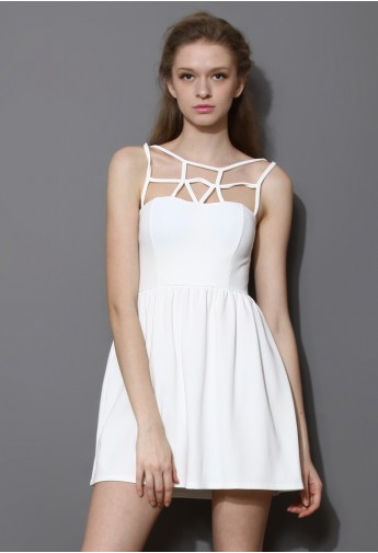 Caged Skater Dress in White - Retro, Indie and Unique Fashion