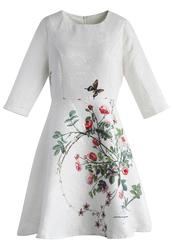 dress,serene rose print jacquard dress in white,chicwish,white,print