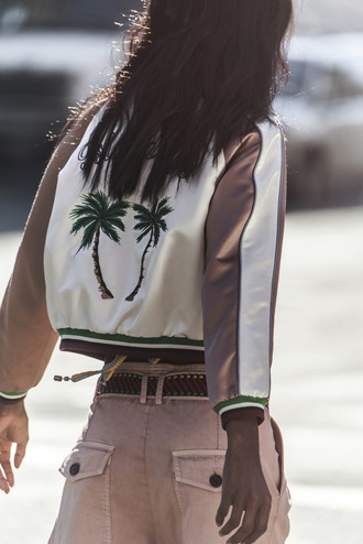 jacket luxury diamonds gold bronze varsity jacket leather suede leather jacket suede jacket ivory palm tree palm tree print miami los angeles green forest green