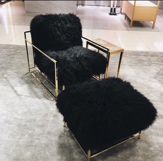 home accessory black fur black cushion black chair tumblr tumblr room bedroom fluffy chair set black