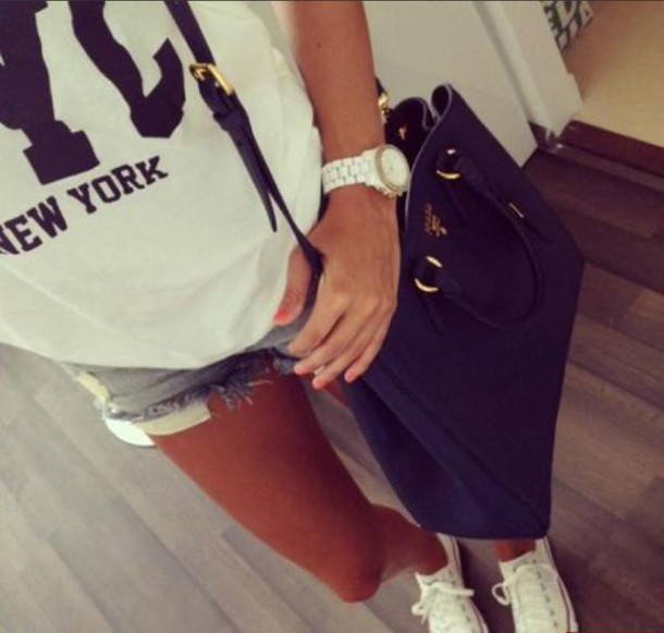 shorts denim shorts t-shirt shoes bag
