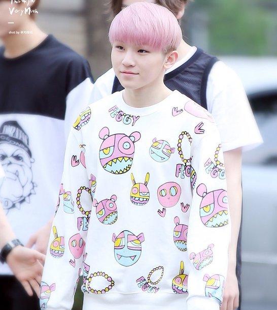 sweater print printed sweater pink kpop white