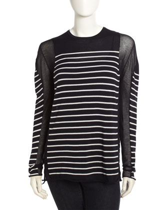 T by Alexander Wang Long-Sleeve Sheer-Inset Tee - Neiman Marcus Last Call
