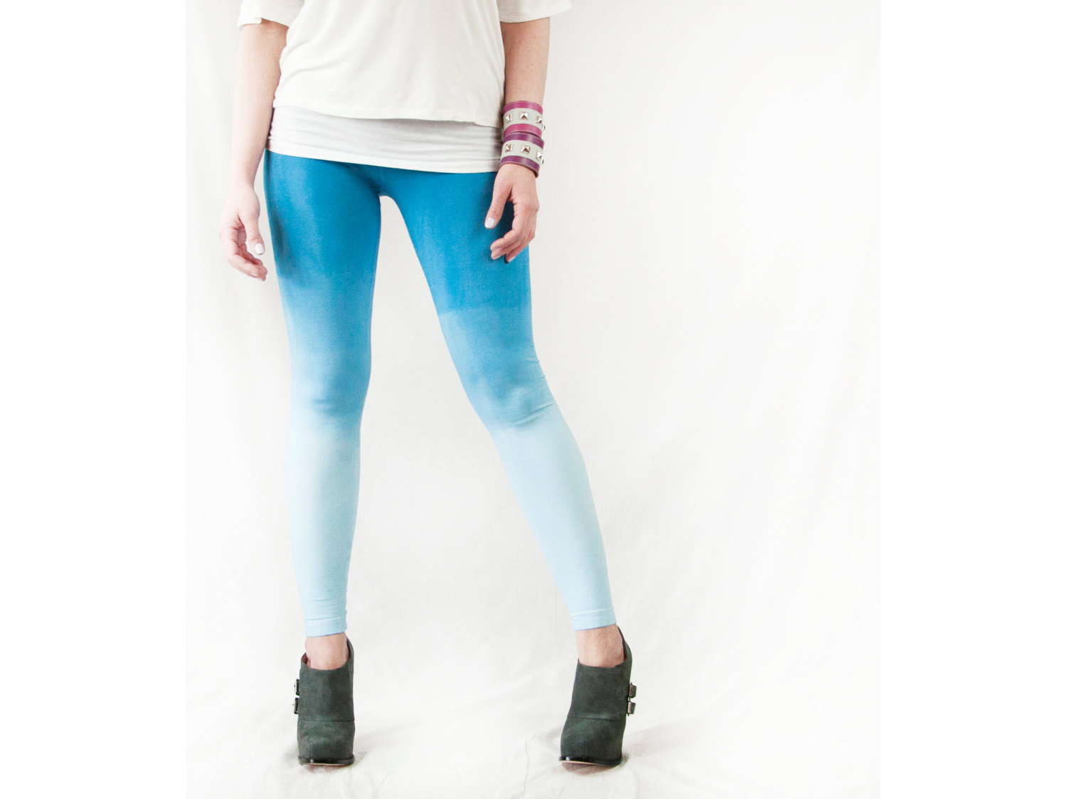 Yoga Leggings Blue Cotton Ombre Tights Womens LARGE Crossfit Workout Pants Hand Dyed Dip Dye Clothing