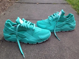 shoes huarache teal size 5 kid/women's nike haraches