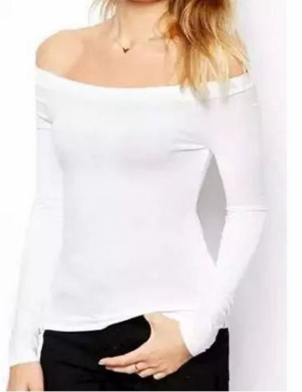 White Off Shoulder Tight Long Sleeve T Shirt