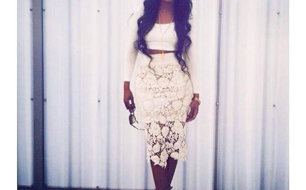 skirt biege color crochet high waist skirts