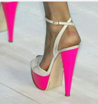 shoes high heels sexy shoes nude shoes ankle strap high heels hot pink ankle high heel open toes pink and nude hot pink shoes