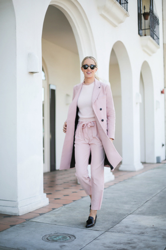 the classy cubicle blogger pink coat baby pink coat pants sweater shoes jewels sunglasses