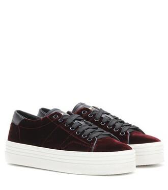 sneakers platform sneakers velvet red shoes