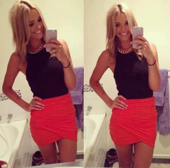 red skirt fashion skirt