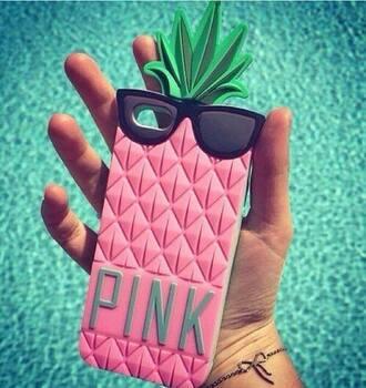 phone cover rose coque vert noir lunette ananas