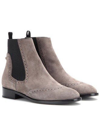 boots chelsea boots suede grey shoes