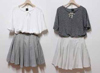 blouse outfit cute adorable sweet skater skirt t-shirt minimalist