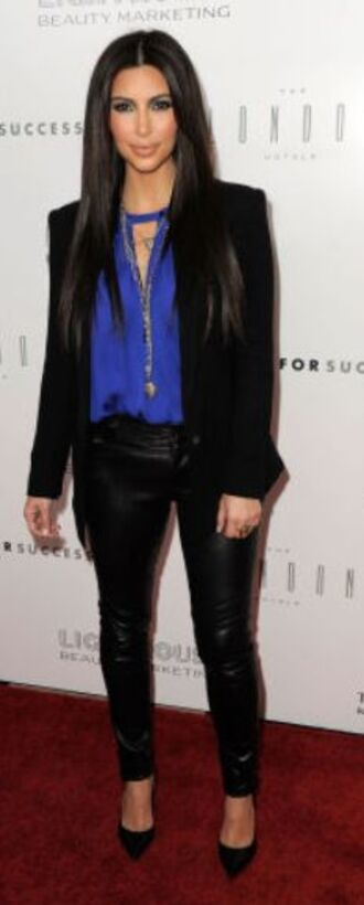 black pants jeans jacket high heels top blouse pants blue top black blazer kim kardashian kim kardashians