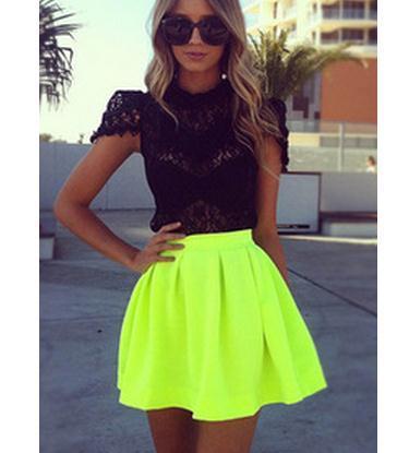 Fluorescent green skirt fluorescent green skirts ms. skirt skirts
