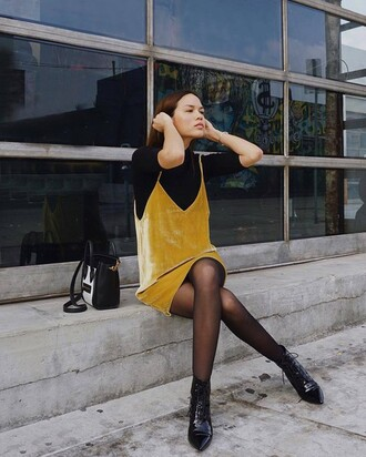 dress yellow slip dress black tights black ankle boots blogger sexy dress date outfit black turtleneck top