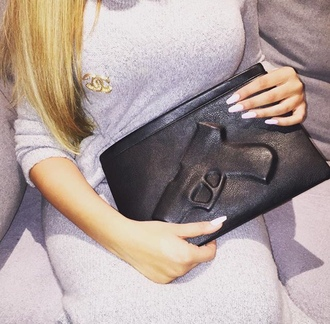bag black gun print gun clutch