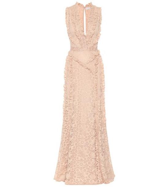Altuzarra Sleeveless lace gown in beige / beige