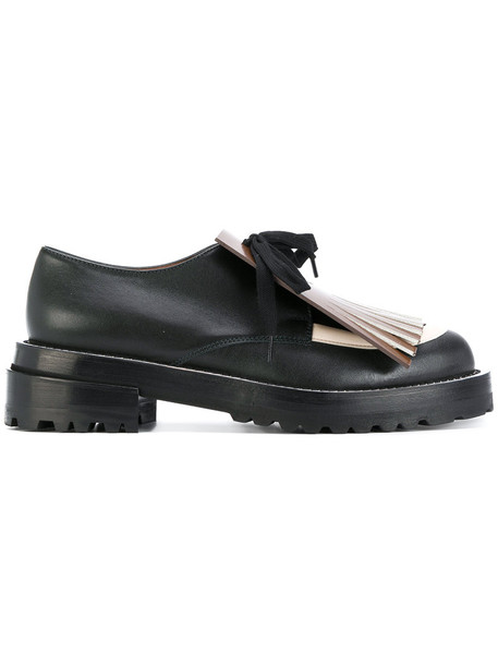 MARNI women loafers lace leather black shoes