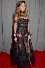 dress,see through,see through dress,lace dress,black dress,black,heidi klum,maxi dress,grammys,shoes
