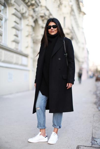 fashion landscape blogger black coat ripped jeans stan smith jeans coat sweater shoes sunglasses