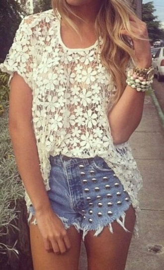 lace dress lace top shorts fashion sjirt style t-shirt summer dress high waisted shorts studded shorts beach outfit lovely pepa crop tops crochet crop top trendy classy pants