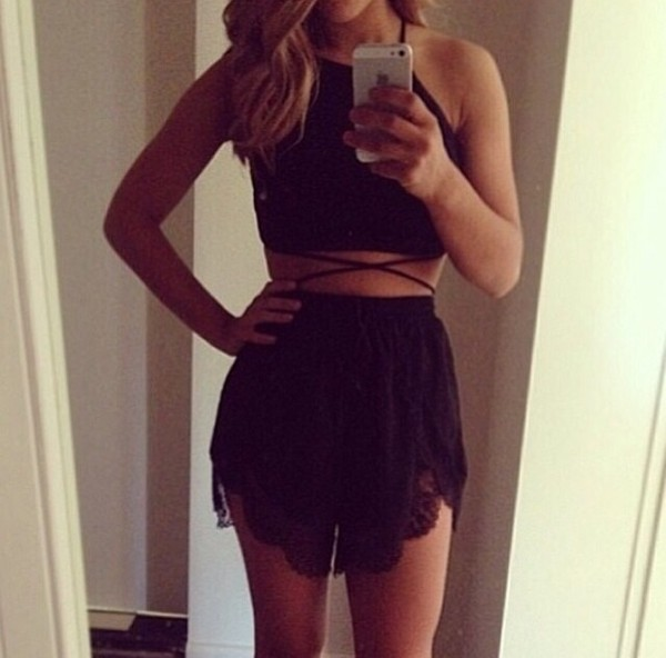 shorts black shirt dress