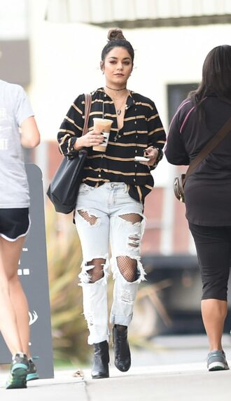 blouse top ripped jeans jeans vanessa hudgens ankle boots fall outfits streetstyle celebrity stripes