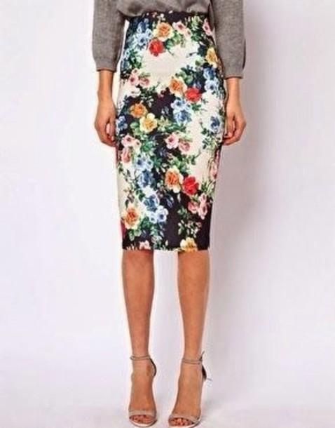 skirt floral mid height pencil skirt