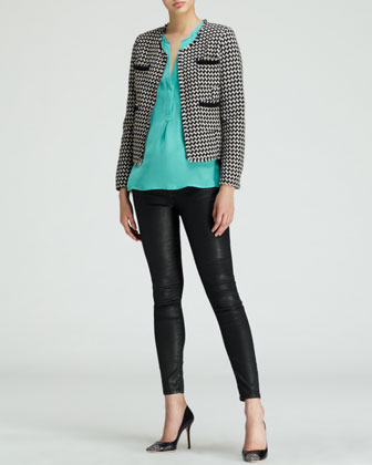 Joie Lyris Cropped Houndstooth Jacket, Vanitra Sleeveless Silk Blouse & Nailah Faux-Leather Pants - Neiman Marcus