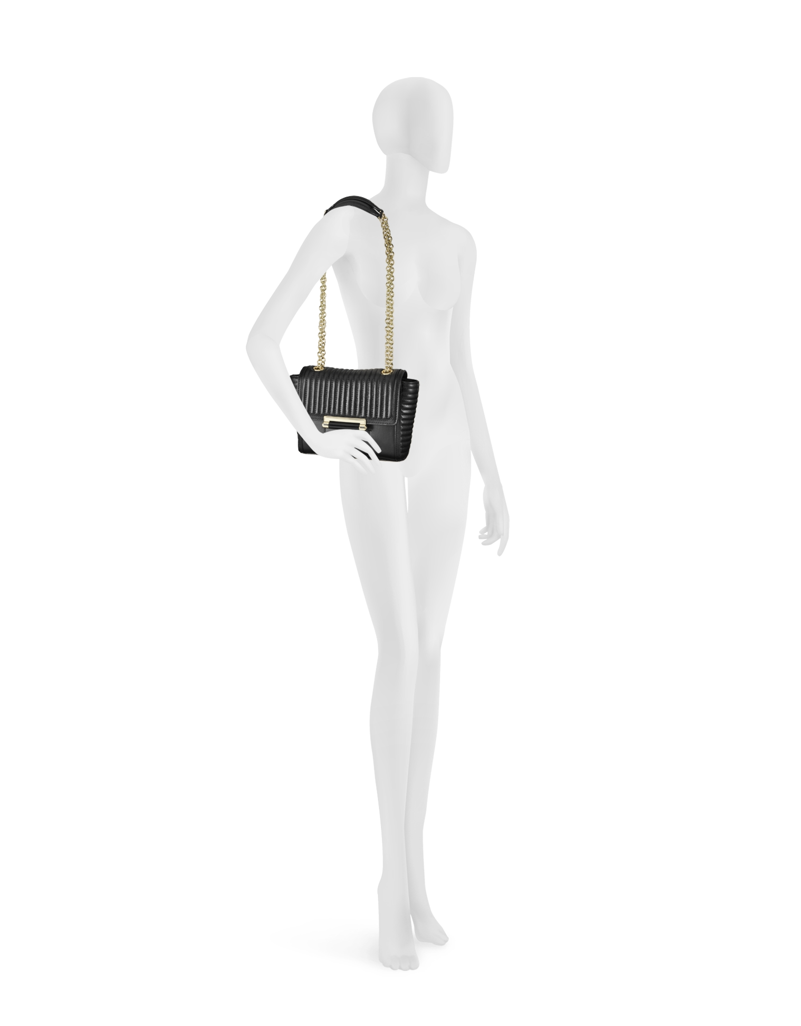 Diane von furstenberg 440 mini rail quilt black leather crossbody bag