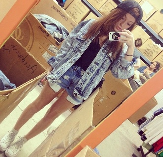 jacket denim jacket shorts denim shorts hat iphone nail polish all star lindsay demolea shoes t-shirt converse