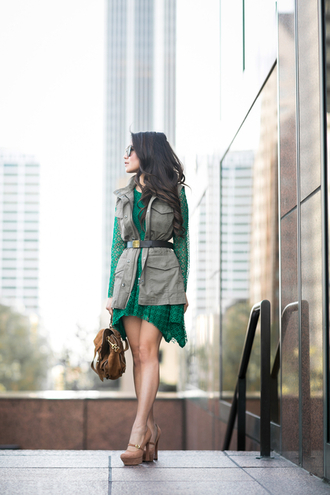 wendy's lookbook blogger army green jacket green dress long sleeve dress platform heels waist belt