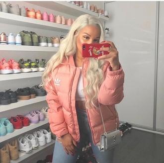 coat jacket puffer jacket adidas pink orange coral adidas superstars adidas originals adidas jacket pink coat