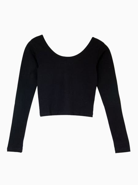 Elastical Basic Crop T-shirt in Black | Choies