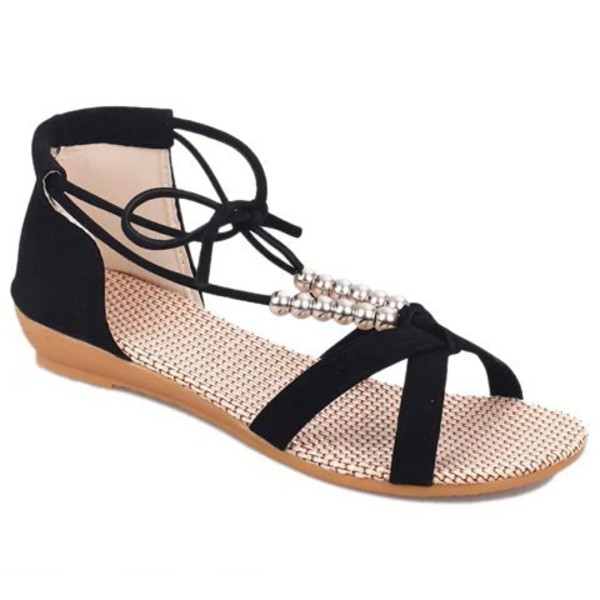 shoes gamiss sandals fashion flats strappy flats flat sandals cute girly strappy black