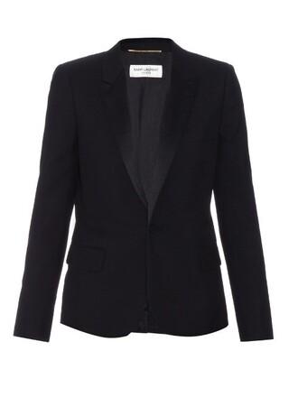 blazer wool satin black jacket