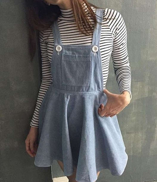 Awesome  Coincidence Chance Pleated Denim Overall Skirt In Blue INDIGO  Lyst