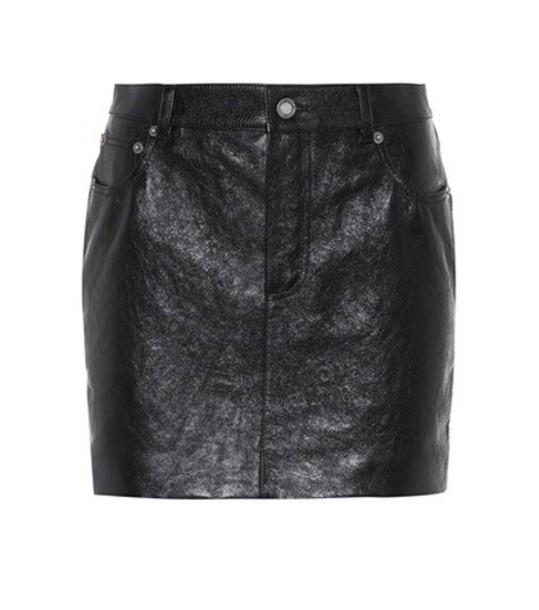 Saint Laurent miniskirt leather black skirt