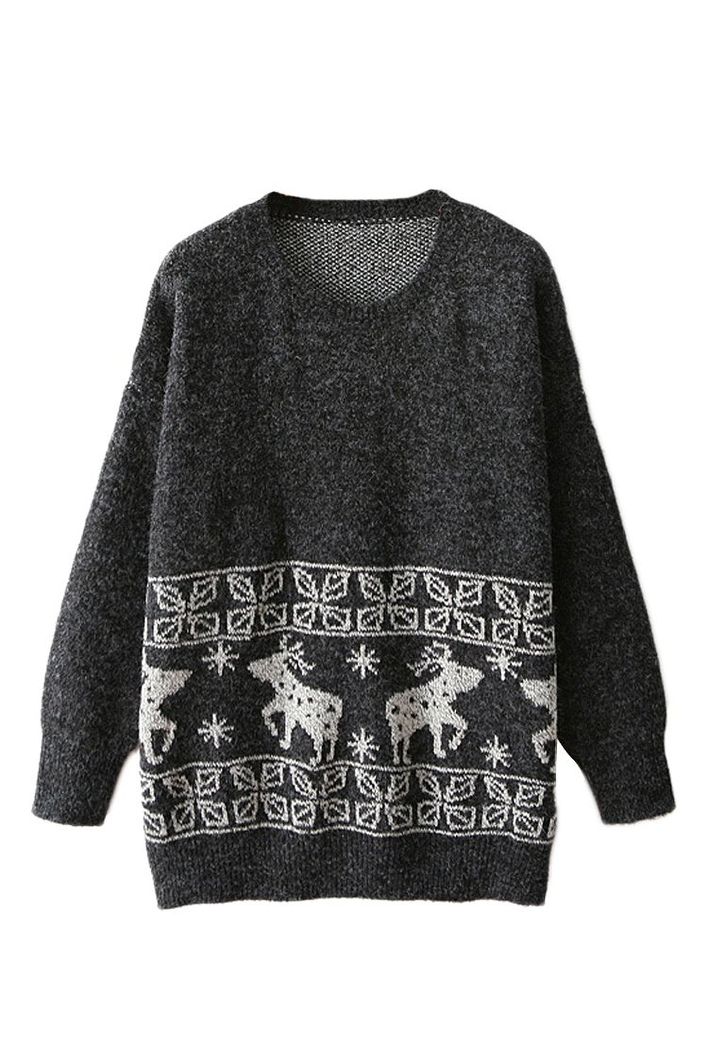 Wind Womens Christmas Reindeer Sweaters Snowflake Sheer Sweatshirt ...